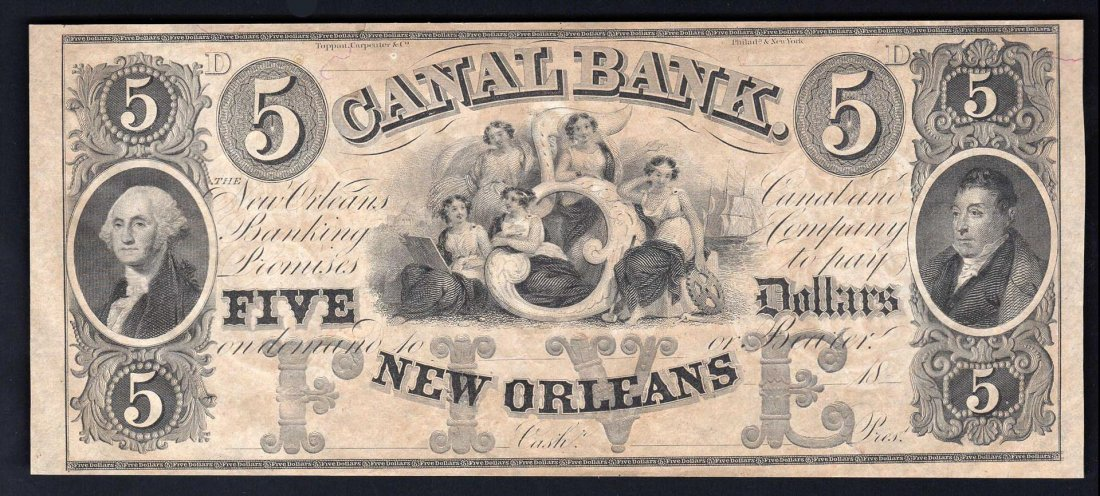 1800s $5 Canal Bank New Orleans Obsolete Bank Note