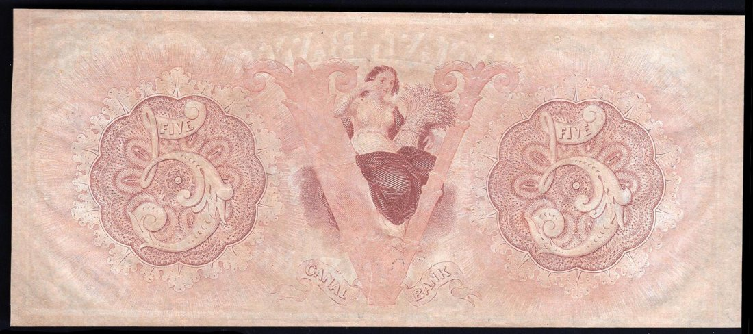 1800s $5 Canal Bank New Orleans Obsolete Bank Note - 2