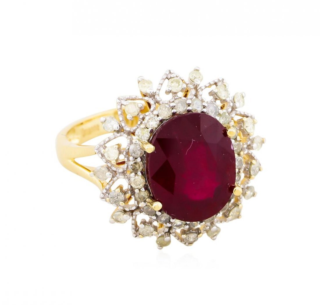 14KT Yellow Gold 6.31ct Ruby and Diamond Ring