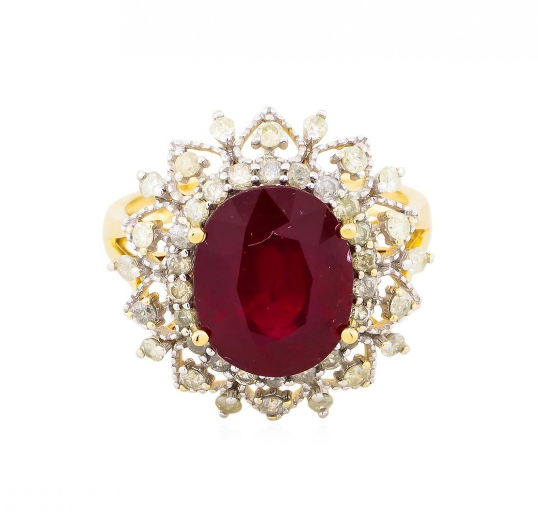 14KT Yellow Gold 6.31ct Ruby and Diamond Ring - 2