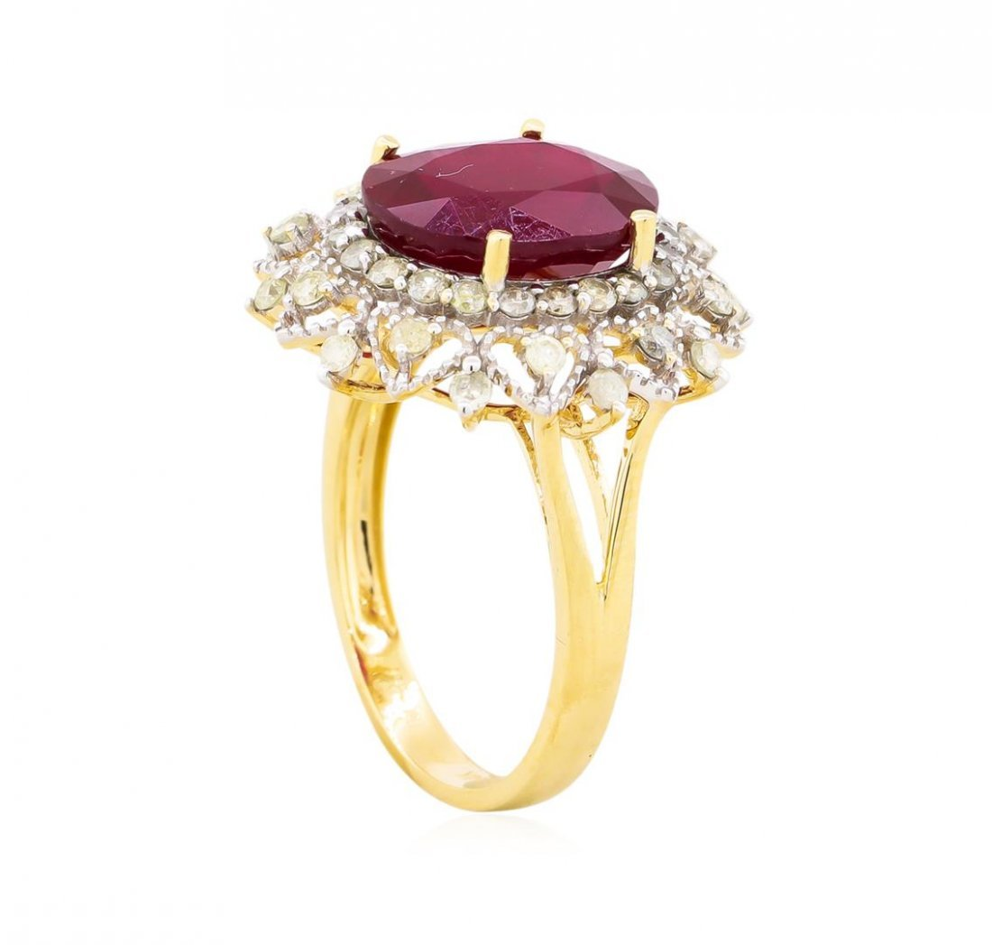 14KT Yellow Gold 6.31ct Ruby and Diamond Ring - 3