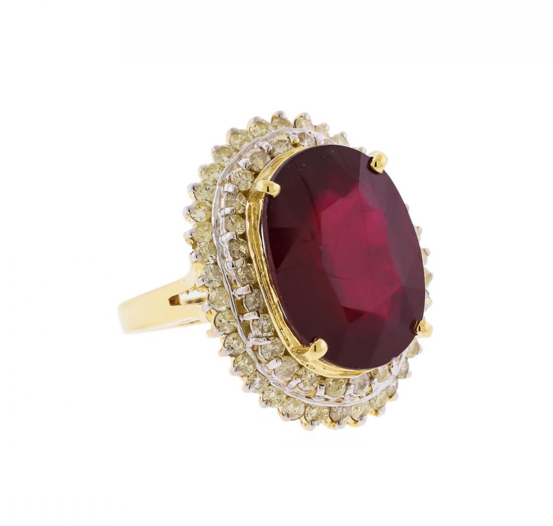 14KT Yellow Gold 16.61ct. Ruby and Diamond Ring