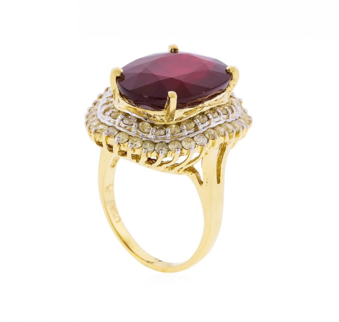 14KT Yellow Gold 16.61ct. Ruby and Diamond Ring - 3