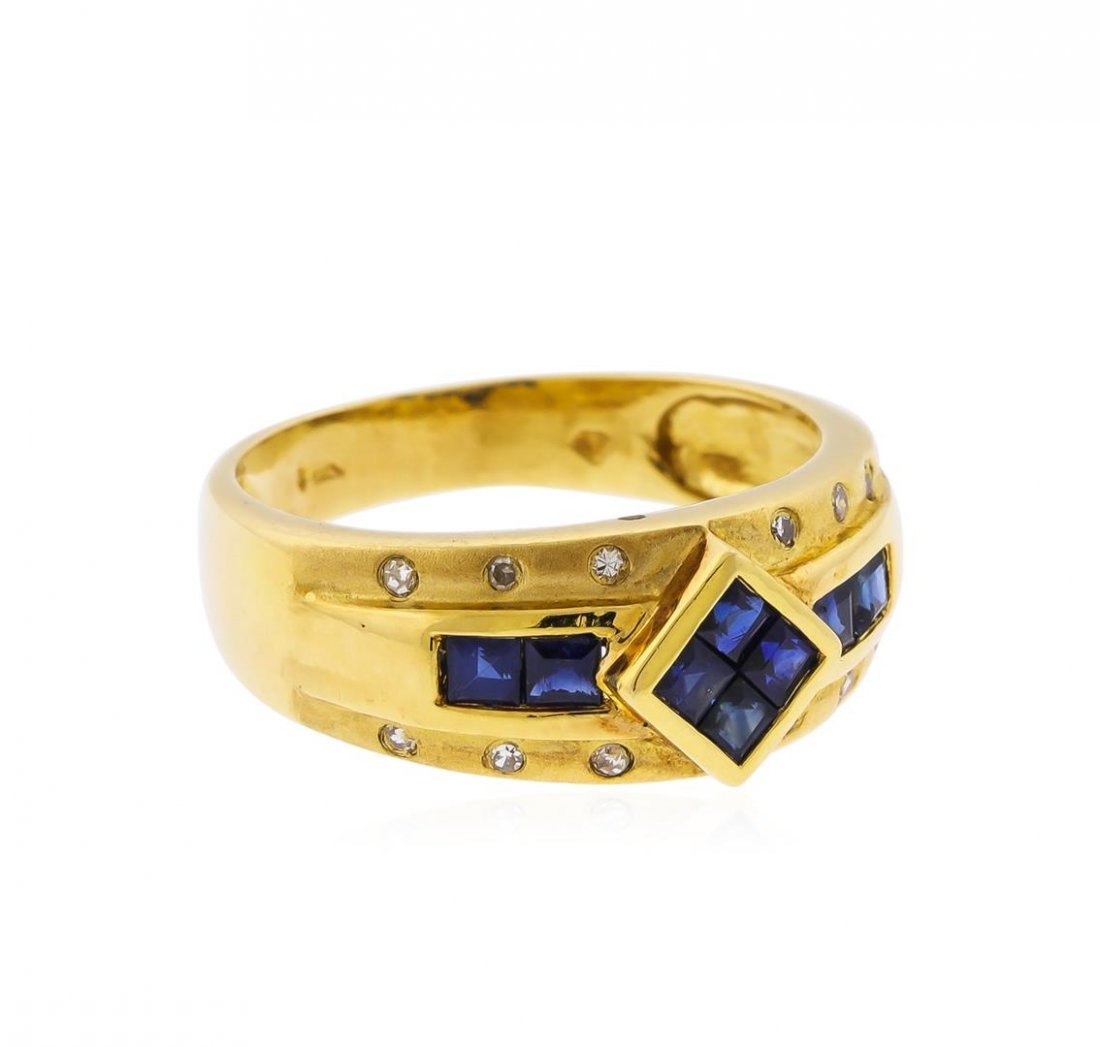 14KT Yellow Gold 0.72ct. Blue Sapphire and Diamond Ring