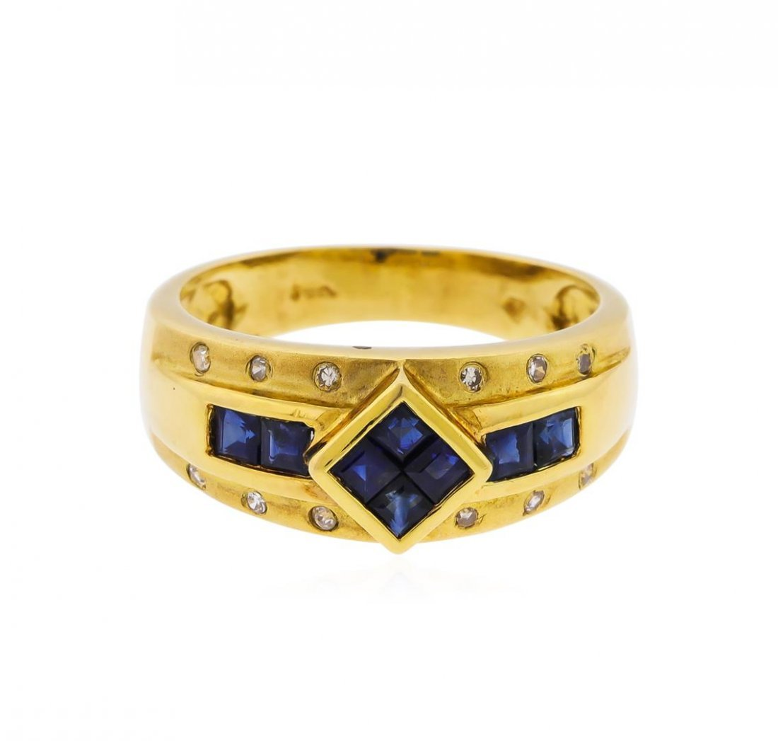 14KT Yellow Gold 0.72ct. Blue Sapphire and Diamond Ring - 2