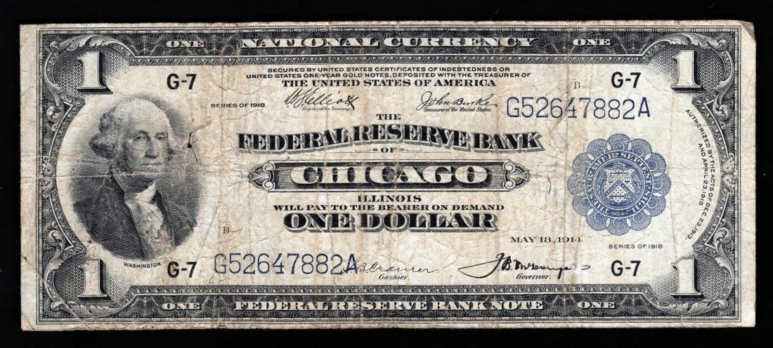 1918 $1 Federal Reserve Bank Note Chicago - Hole near
