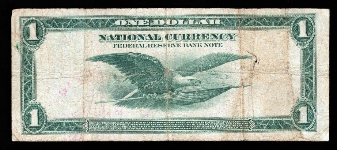 1918 $1 Federal Reserve Bank Note Chicago - Hole near - 2