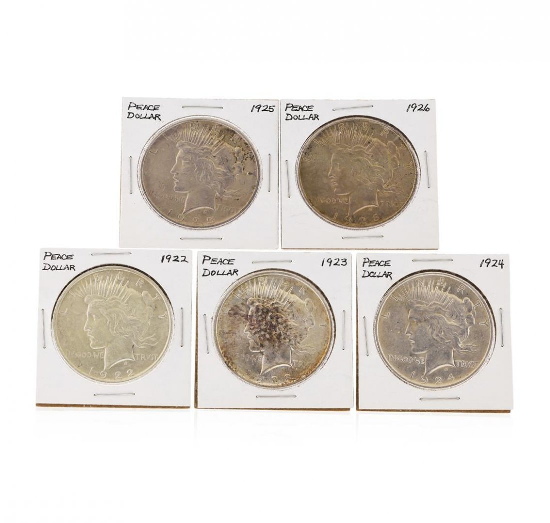 Set of 1922-1926 $1 Peace Silver Dollar Coins