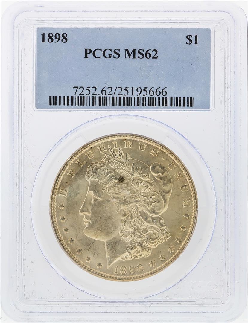 1898 $1 Morgan Silver Dollar PCGS Graded MS62
