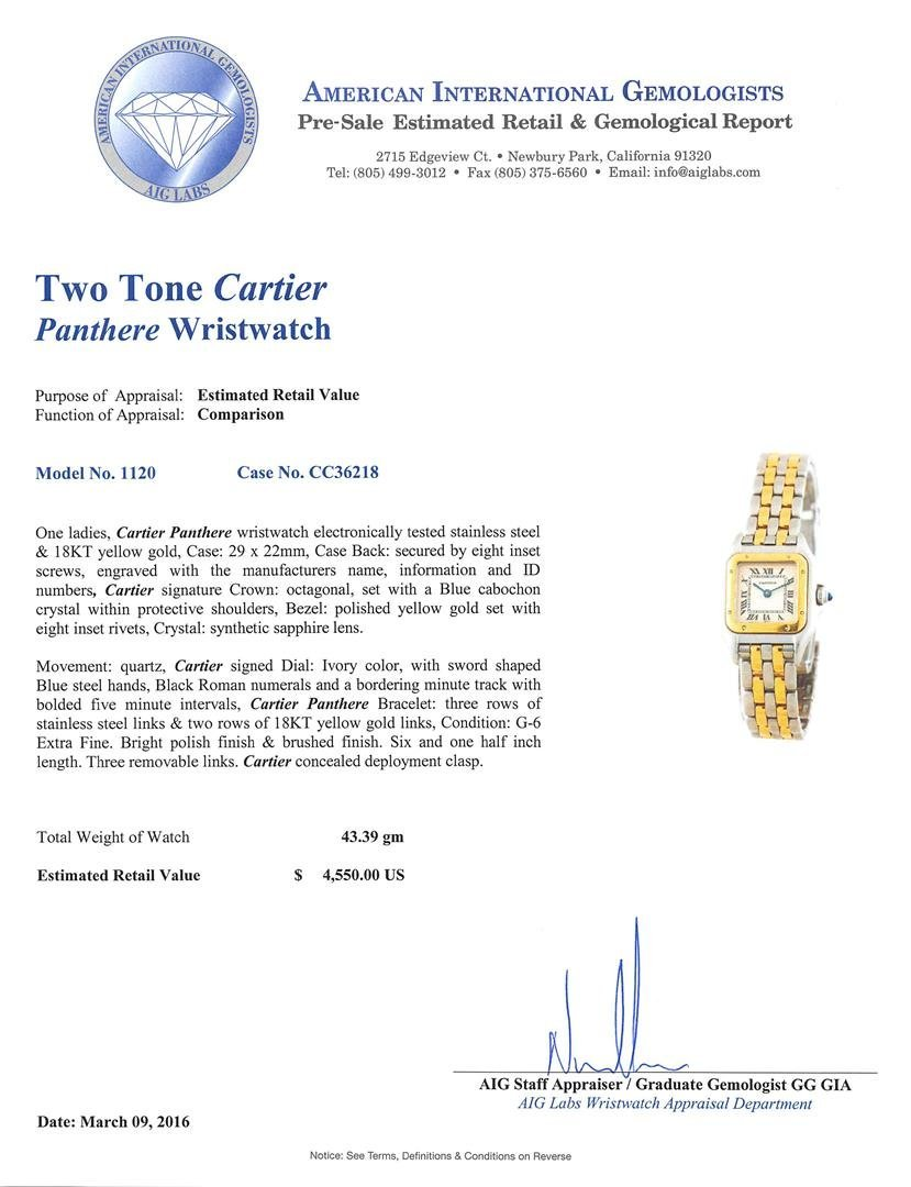 Two-Tone Stainless Steel and Gold Cartier Panthere - 5