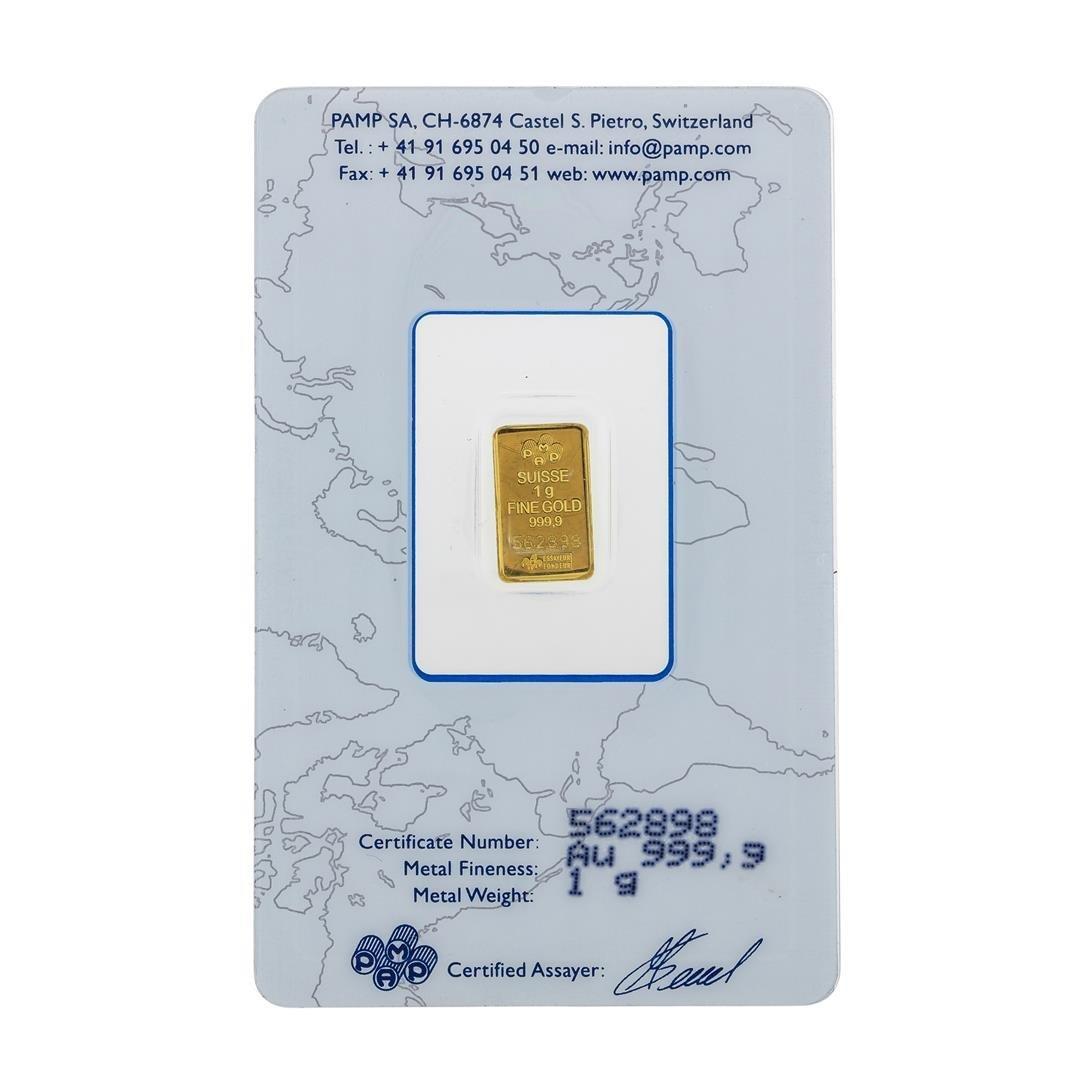 Suisse 1 Gram Fine Gold Pamp Gold Bar - 2