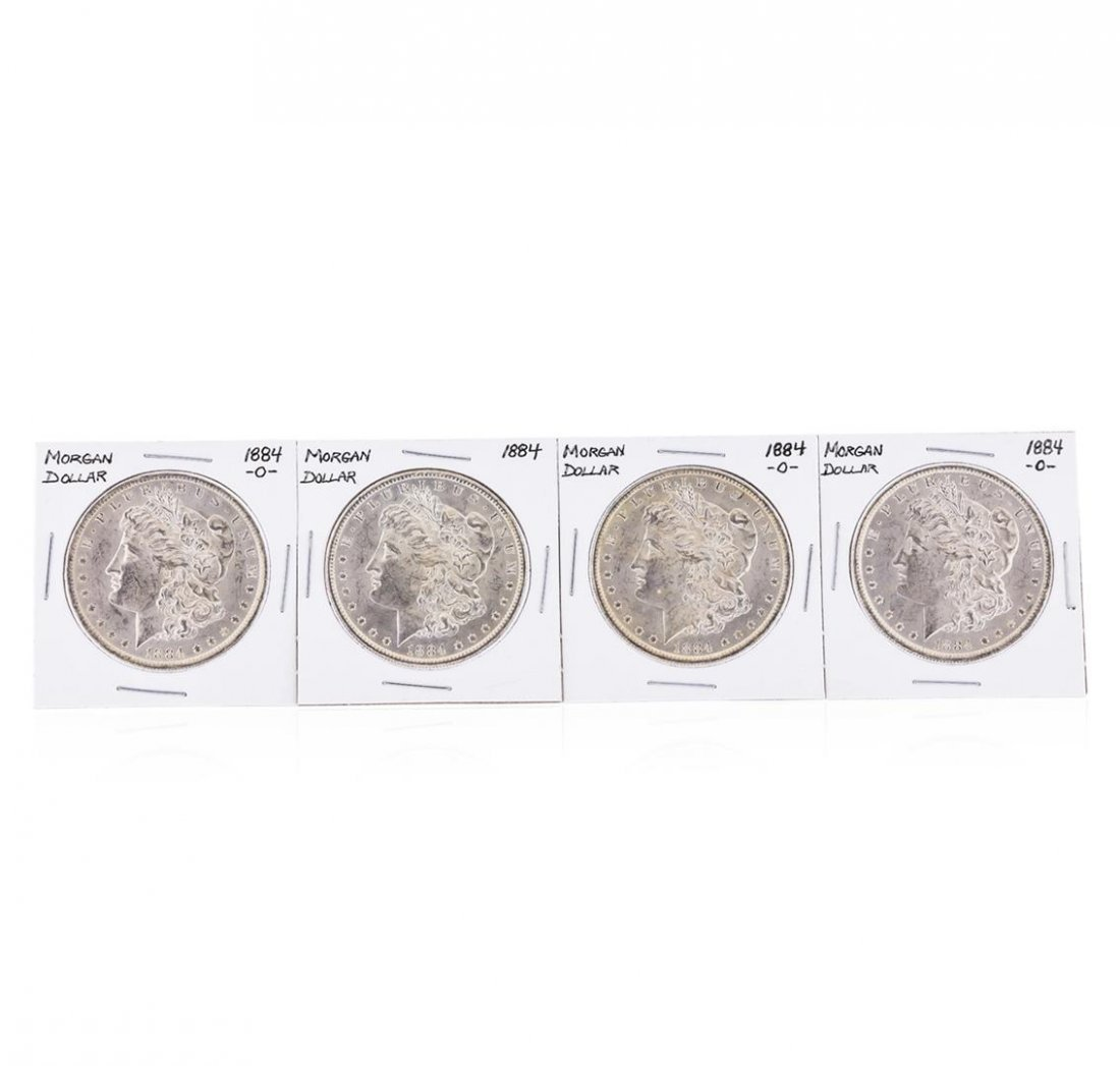 Set of (3) 1884-O & (1) 1884 $1 Morgan Silver Dollar