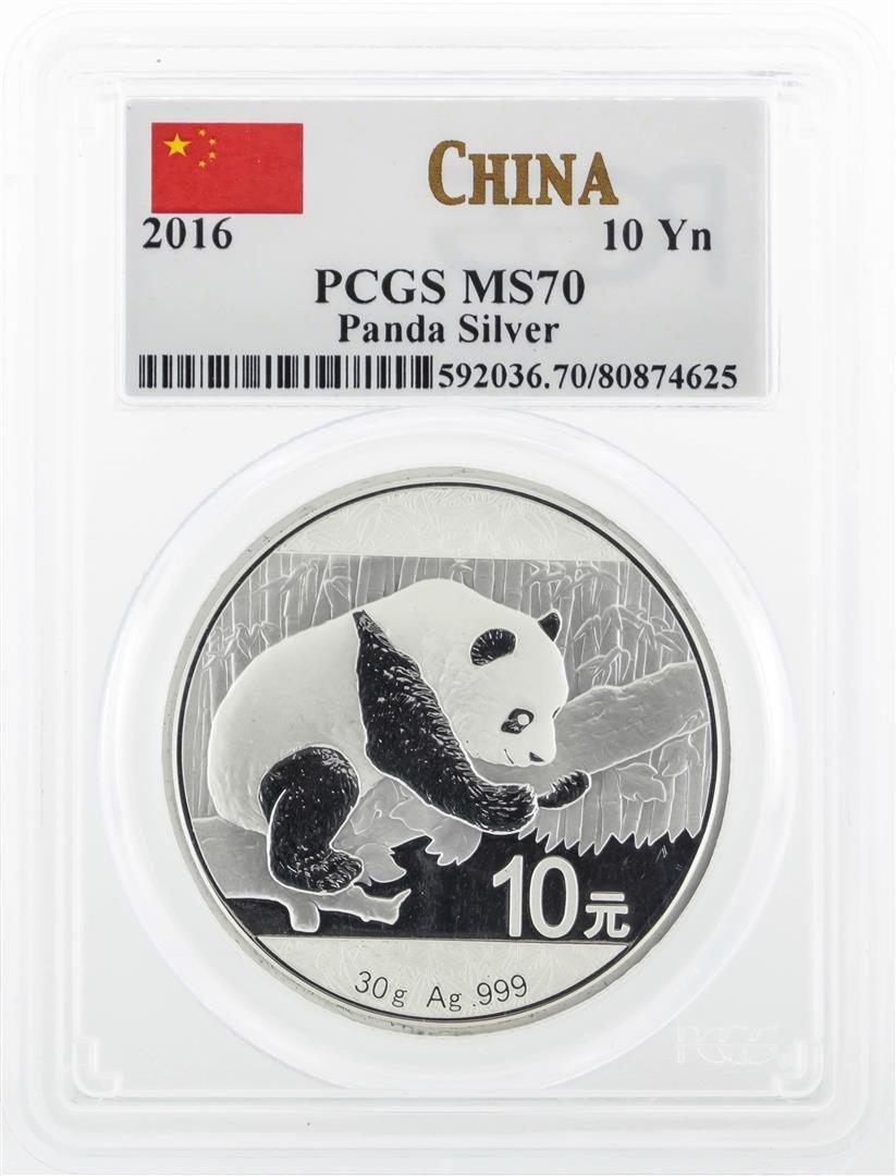 2016 China 10 Yuan Silver Panda Coin PCGS MS70