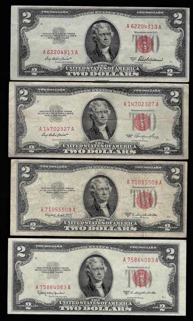 Lot of (4) 1953/A/B/C $2 Legal Tender Notes