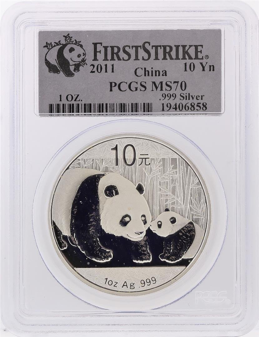 2011 China Panda Silver Coin 10 Yuan PCGS First Strike