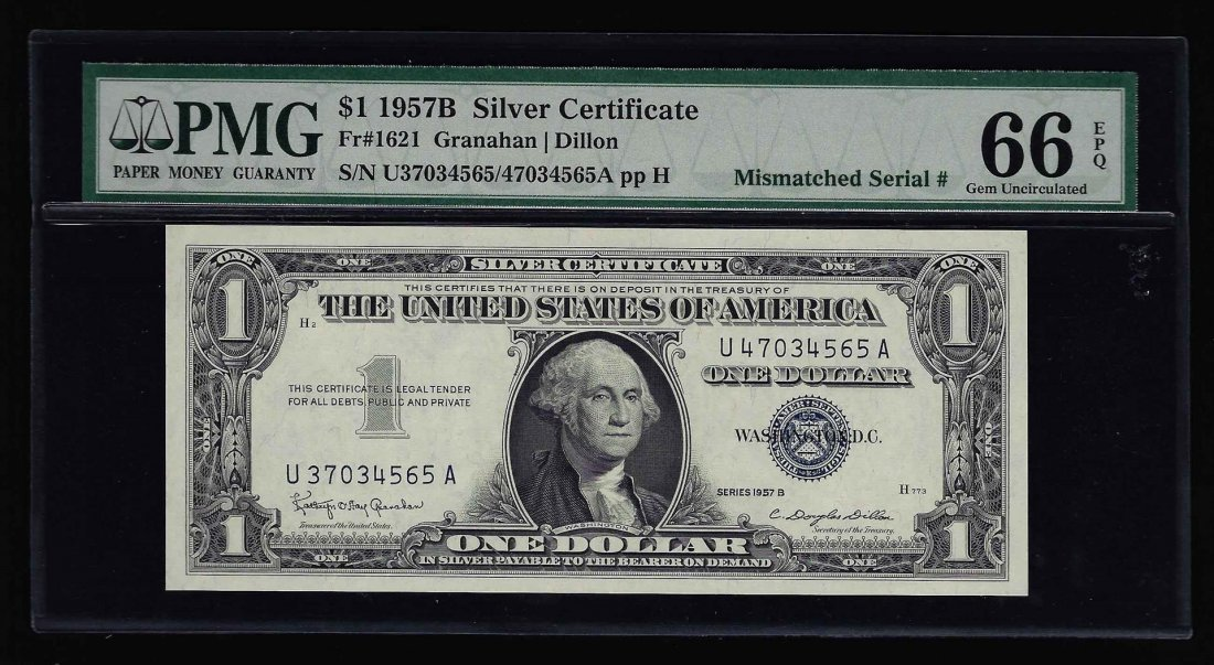 1957B $1 Silver Certificate Note ERROR Mismatched