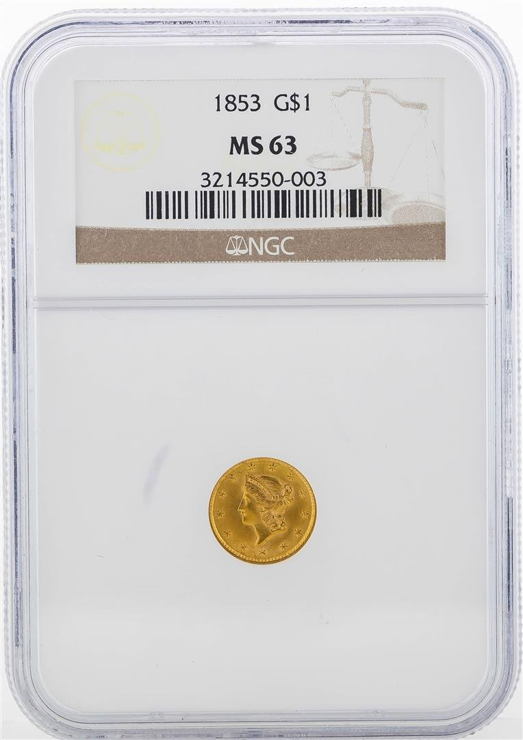 1853 $1 Liberty Head Gold Coin NGC MS63