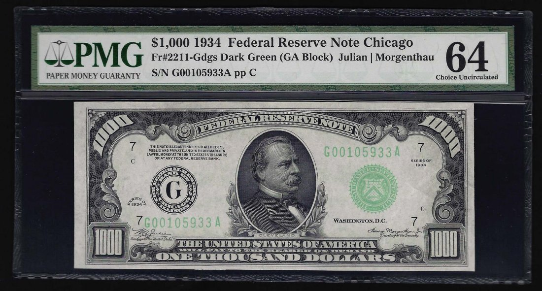 1934 $1000 Federal Reserve Note Chicago PMG Choice