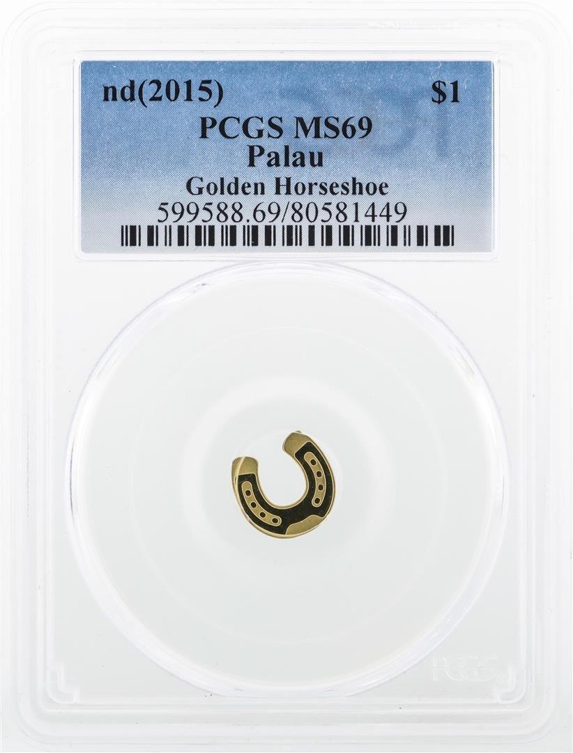 2015 $1 Palau Golden Horseshoe Coin PCGS MS69