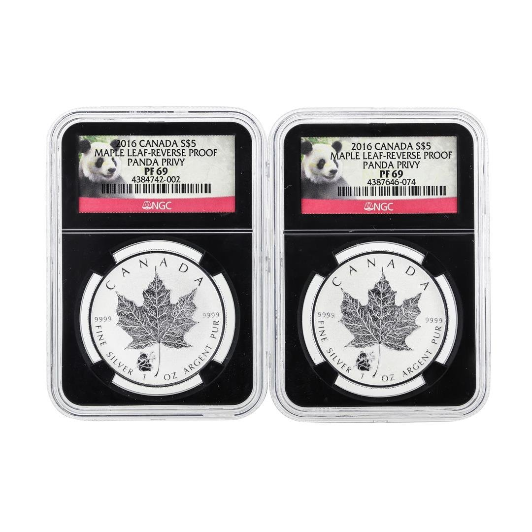 Set of (2) 2016 $5 Canada Maple Leaf-Reverse Proof