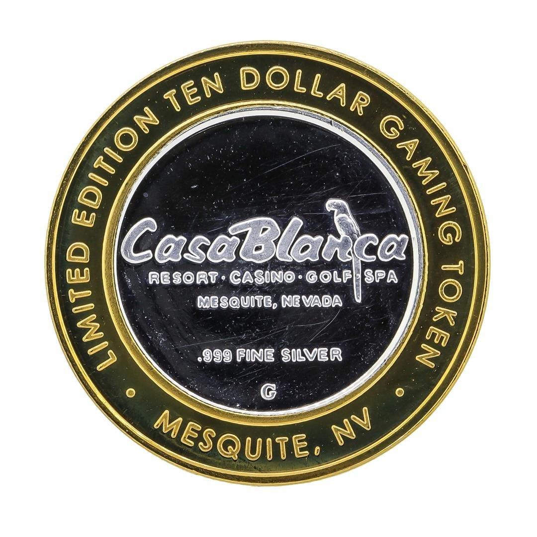 .999 Silver Casa Blanca Resort $10 Casino Gaming Token