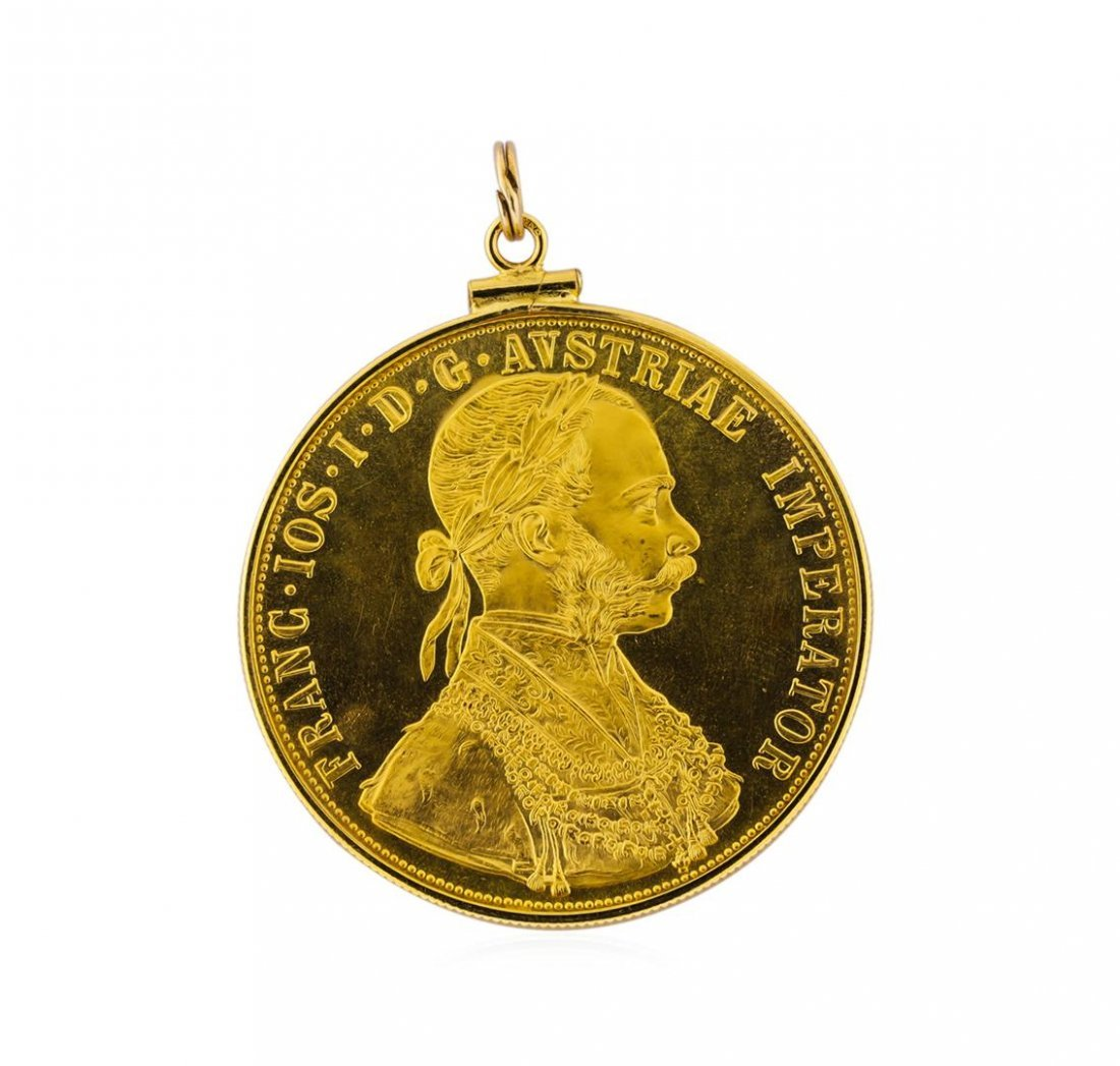 14K Pendant with 1915 Austria 4 Ducat Gold Coin