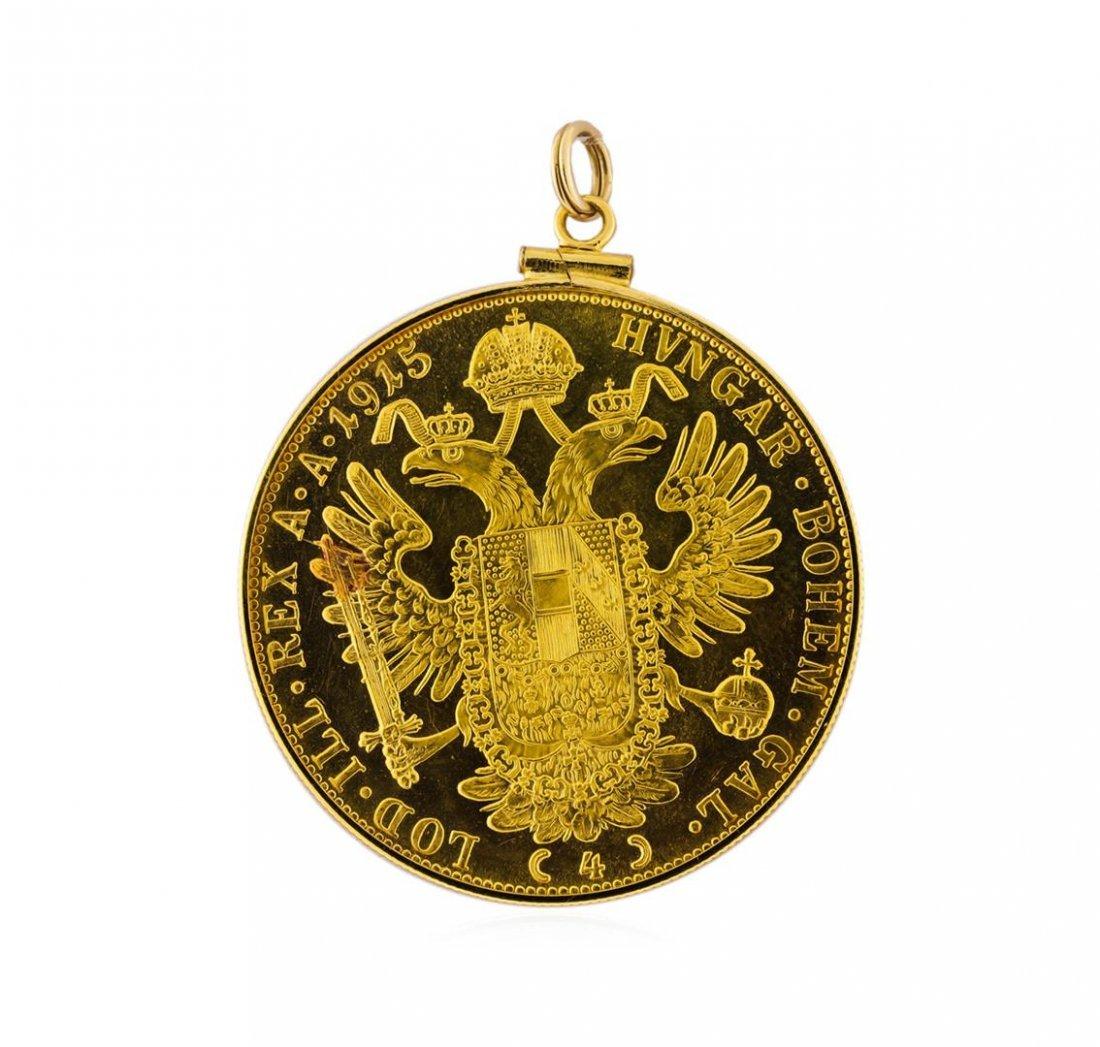 14K Pendant with 1915 Austria 4 Ducat Gold Coin - 2