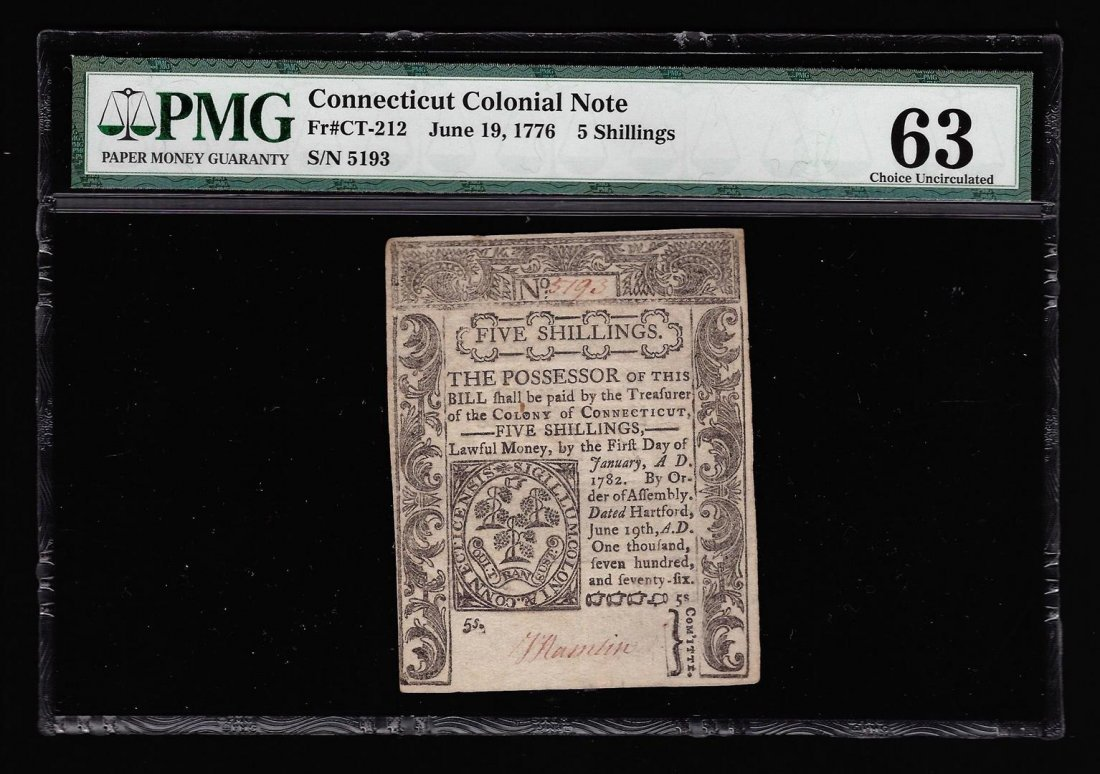 June 19, 1776 5 Shillings Connecticut Note PMG CU63