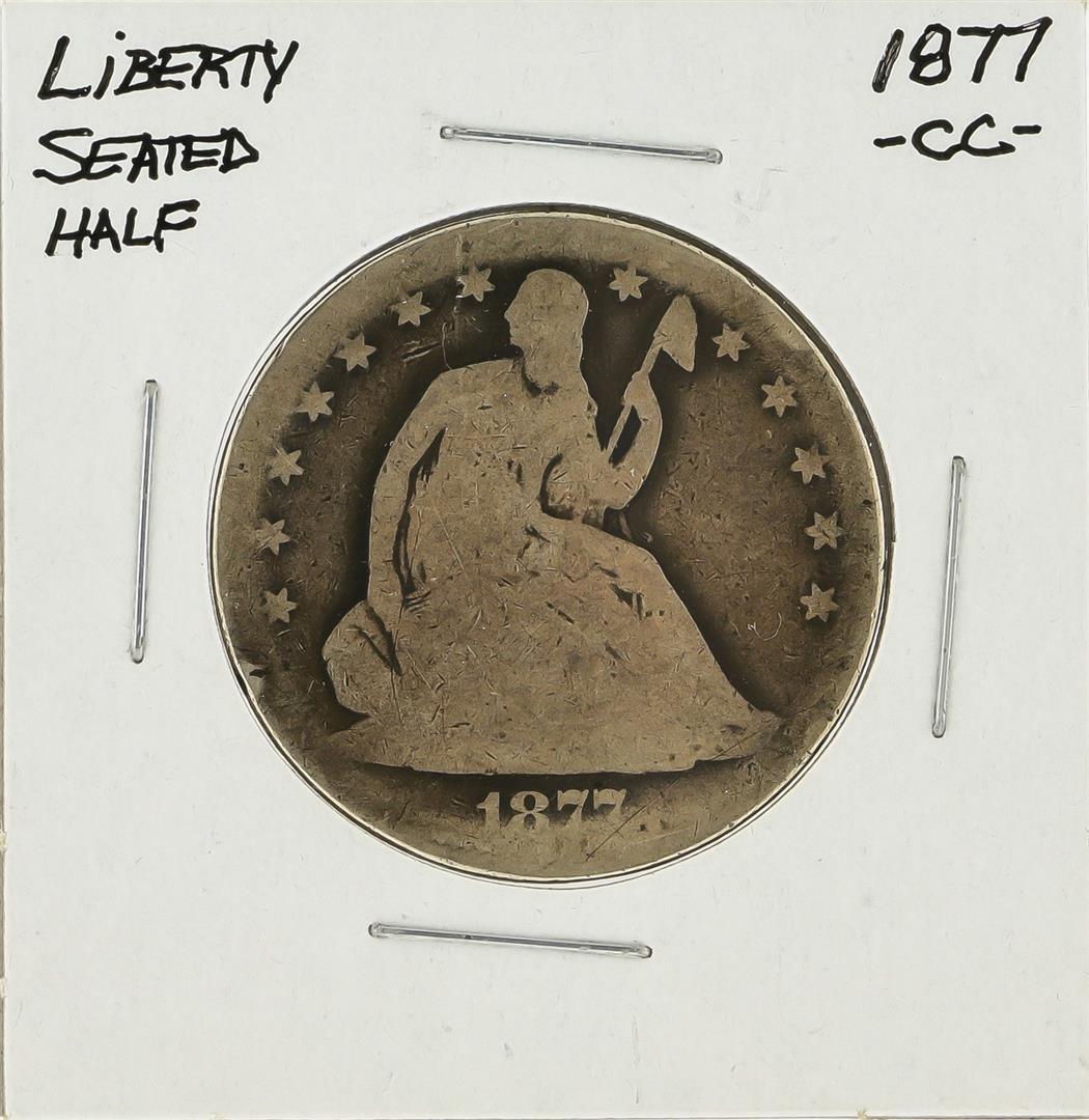 1877-CC Silver Liberty Seated Half Dollar Coin