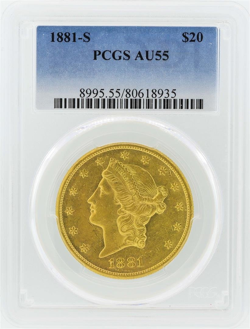 1881-S $20 Liberty Head Double Eagle Gold Coin PCGS
