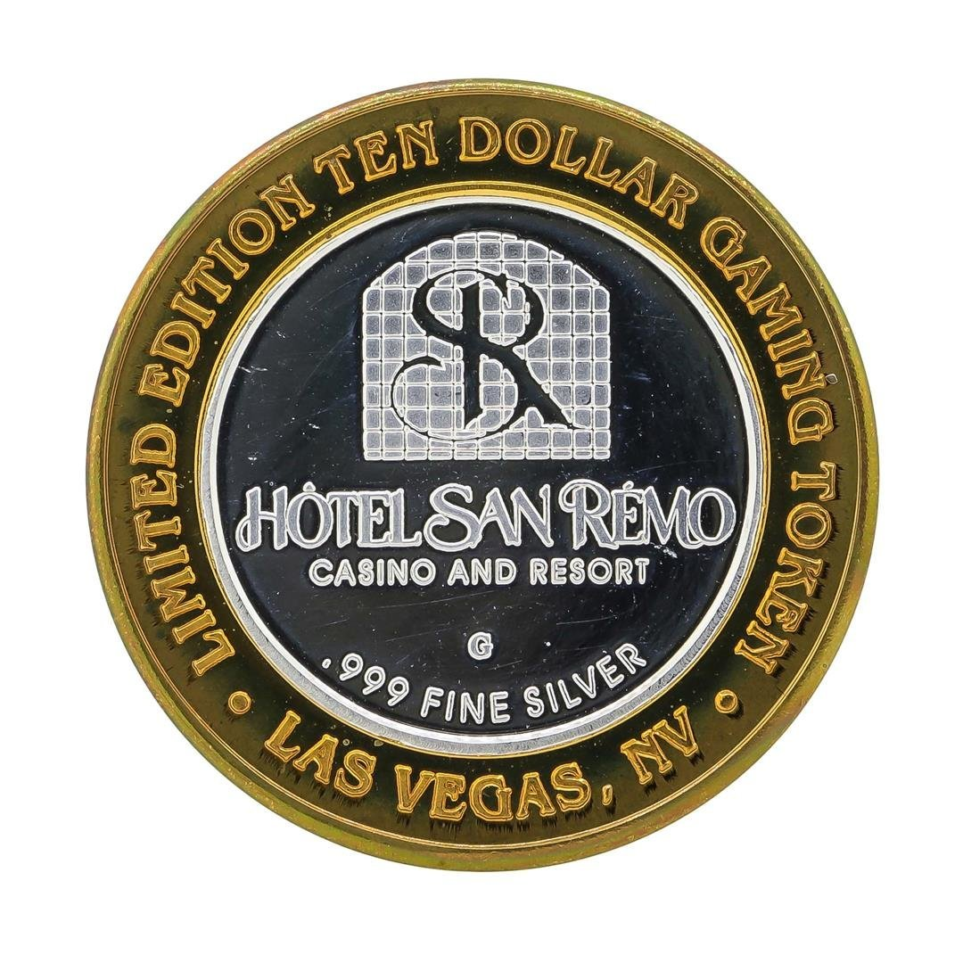 .999 Silver Hotel San Remo $10 Casino Gaming Token