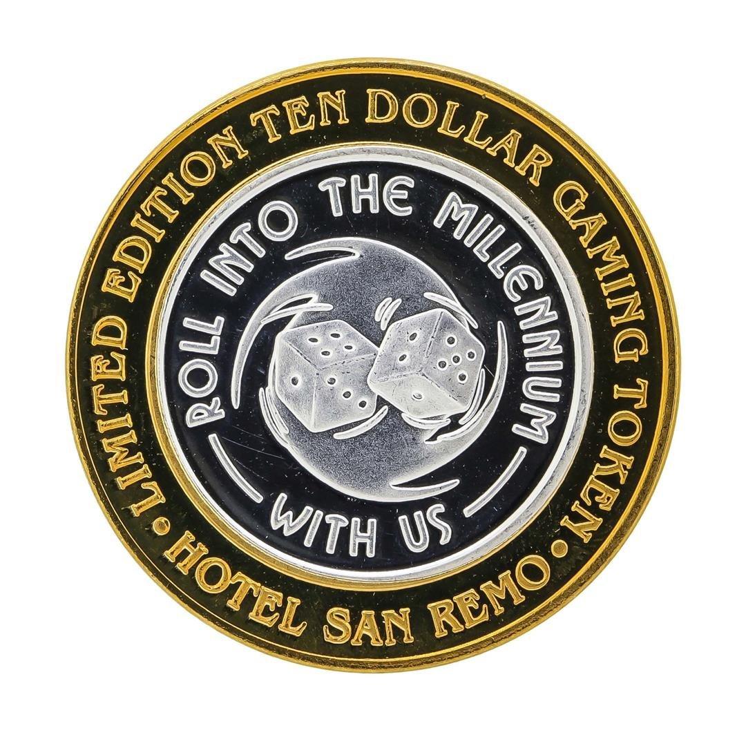 .999 Silver Hotel San Remo $10 Casino Gaming Token - 2