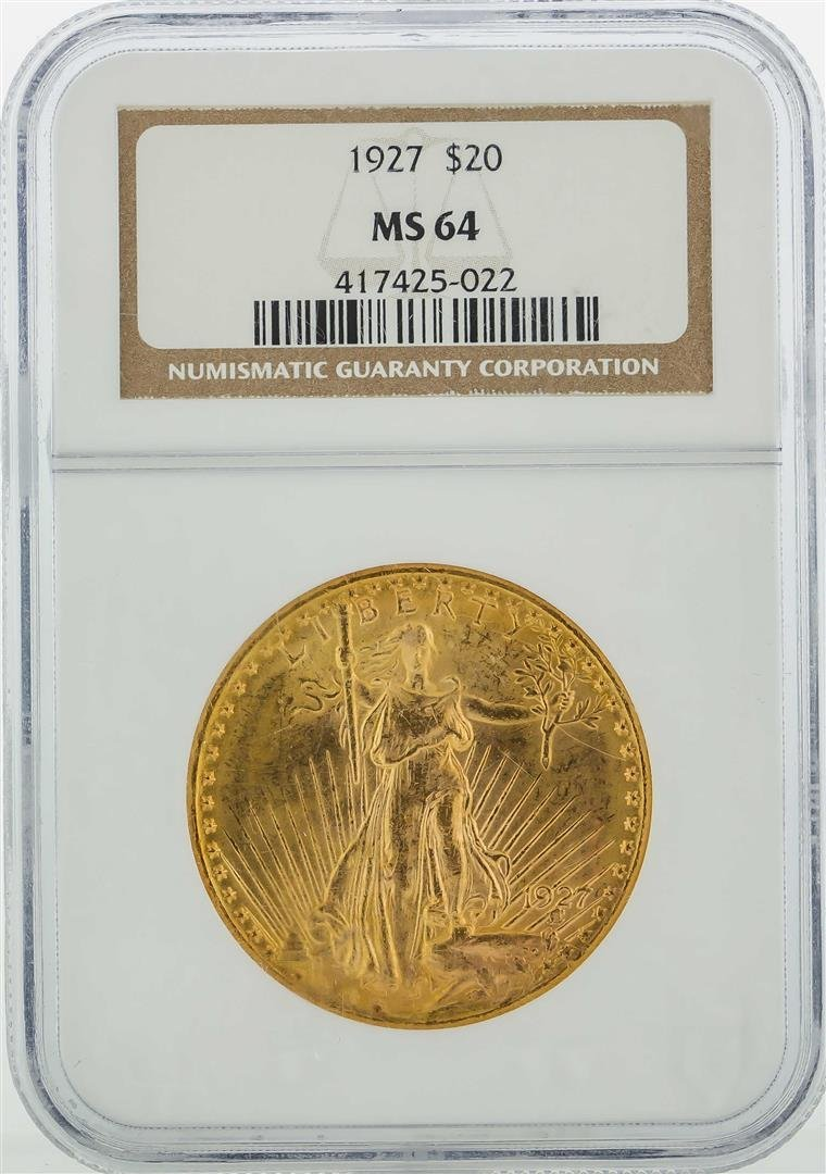 1927 $20 St. Gaudens Double Eagle Gold Coin NGC MS64