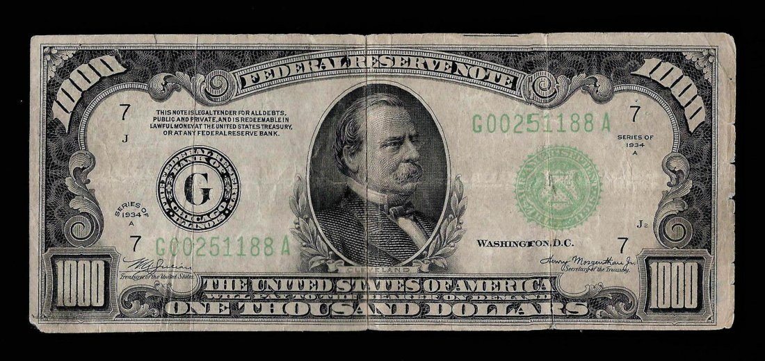 1934A $1,000 Federal Reserve Note Chicago - Pinholes