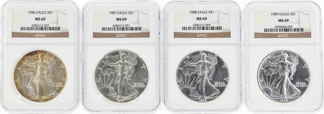 Set of 1986-1989 $1 American Silver Eagle Coins NGC