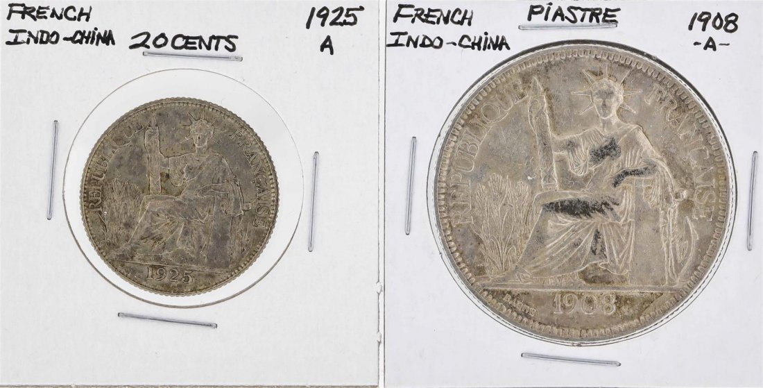 1908A French Indo-China Piastre & 1925A French
