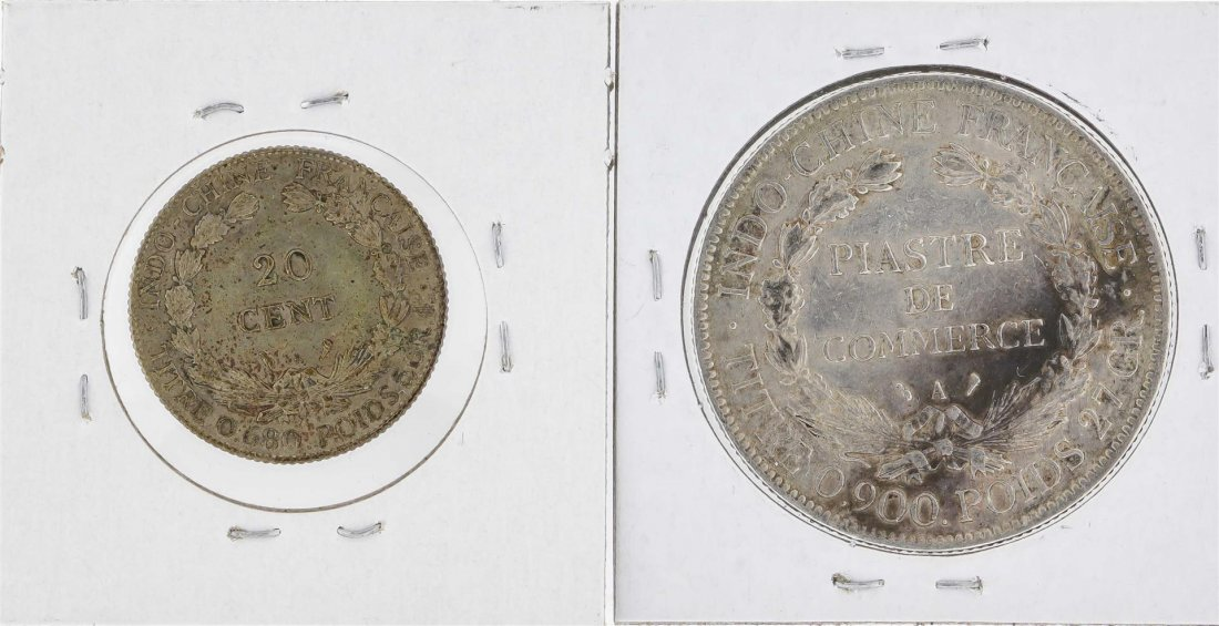 1908A French Indo-China Piastre & 1925A French - 2