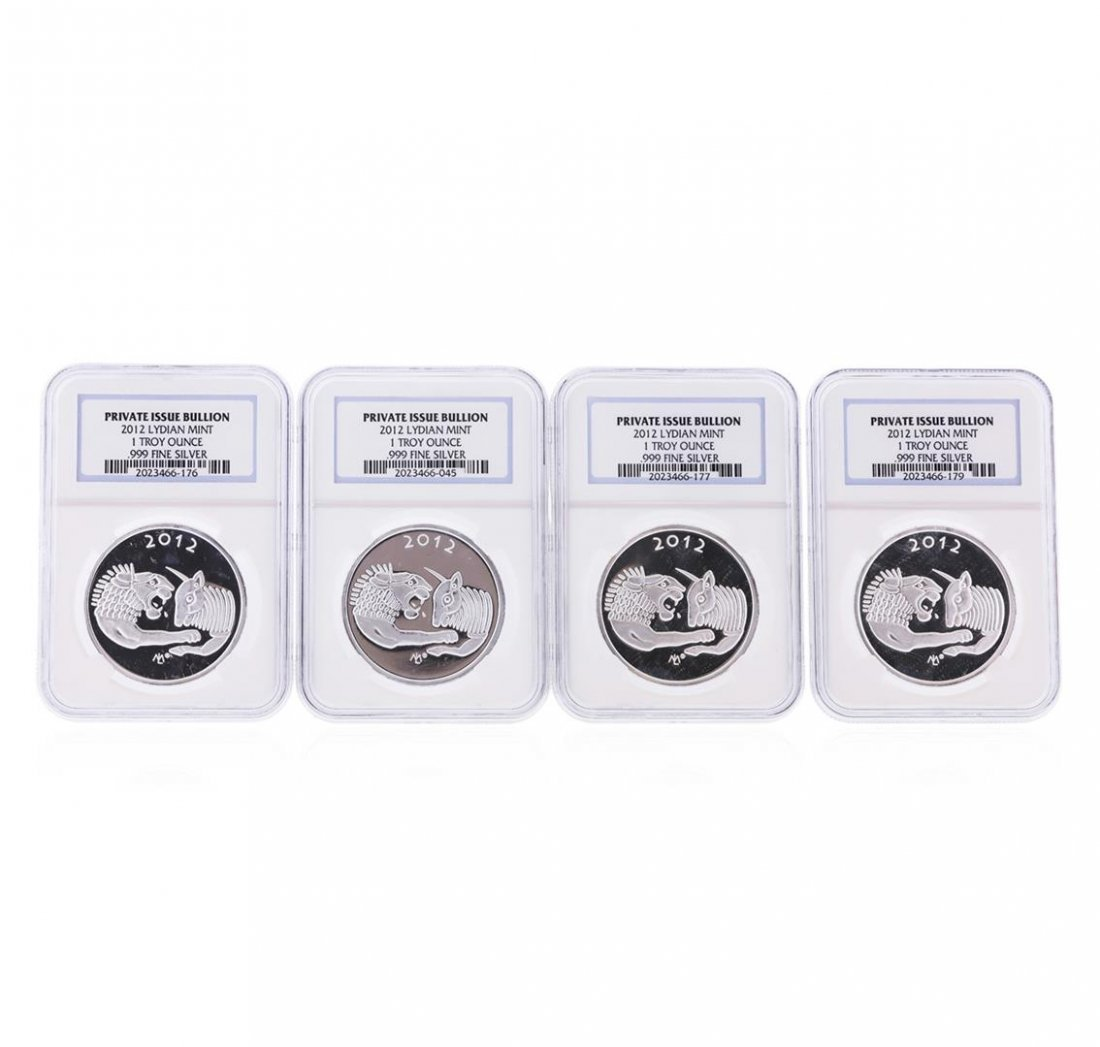 Set of (4) 2012 Lydian Mint .999 Silver 1 Troy Ounce