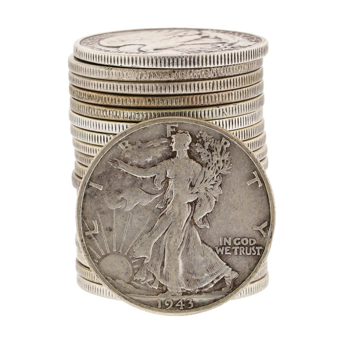 (20) Assorted 1916-1946 Circulated Silver Walking