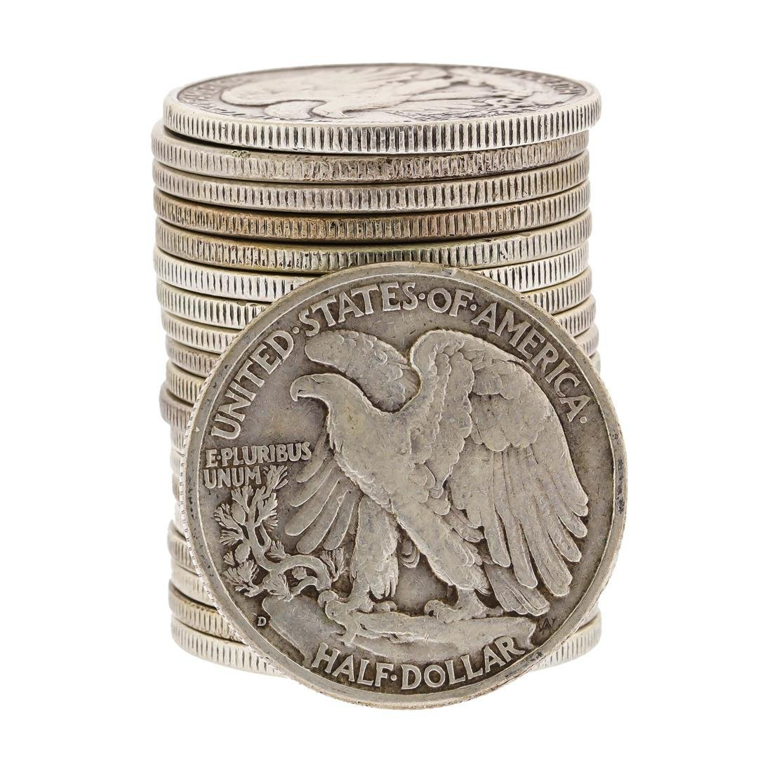 (20) Assorted 1916-1946 Circulated Silver Walking - 2