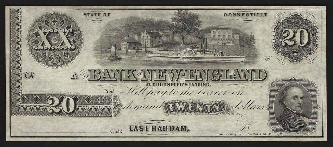 1800's $20 Bank of New-England East Haddam Obsolete