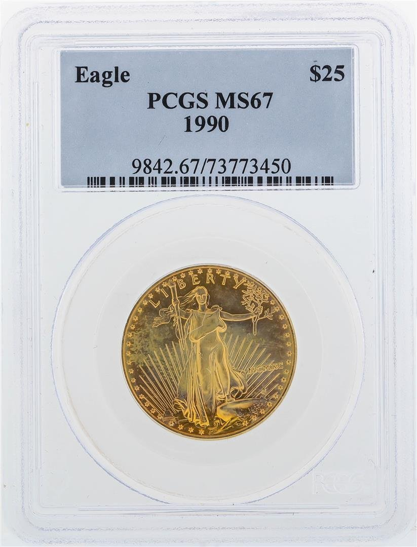 1990 $25 American Gold Eagle Coin PCGS MS67