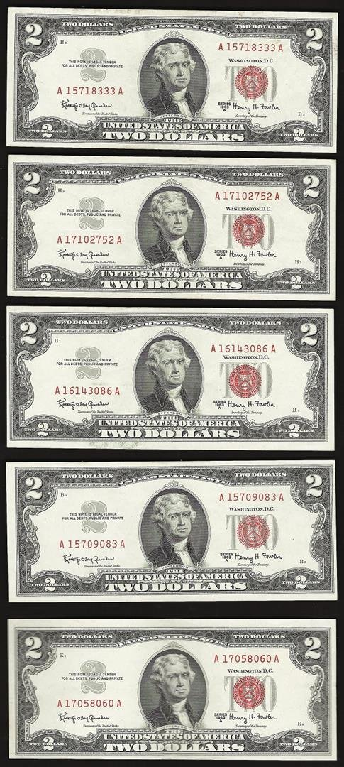 Lot of (5) 1963A $2 Legal Tender Notes