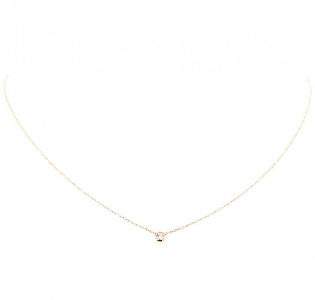 14KT Rose Gold .10ct Diamond Solitaire Necklace - 2