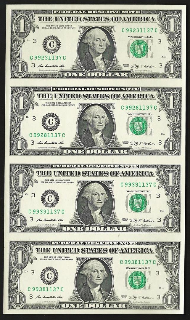Uncut sheet of (4) 2009 $1 Federal Reserve Notes