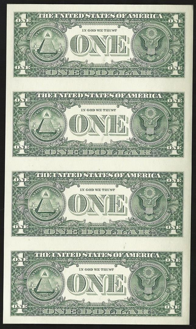 Uncut sheet of (4) 2009 $1 Federal Reserve Notes - 2