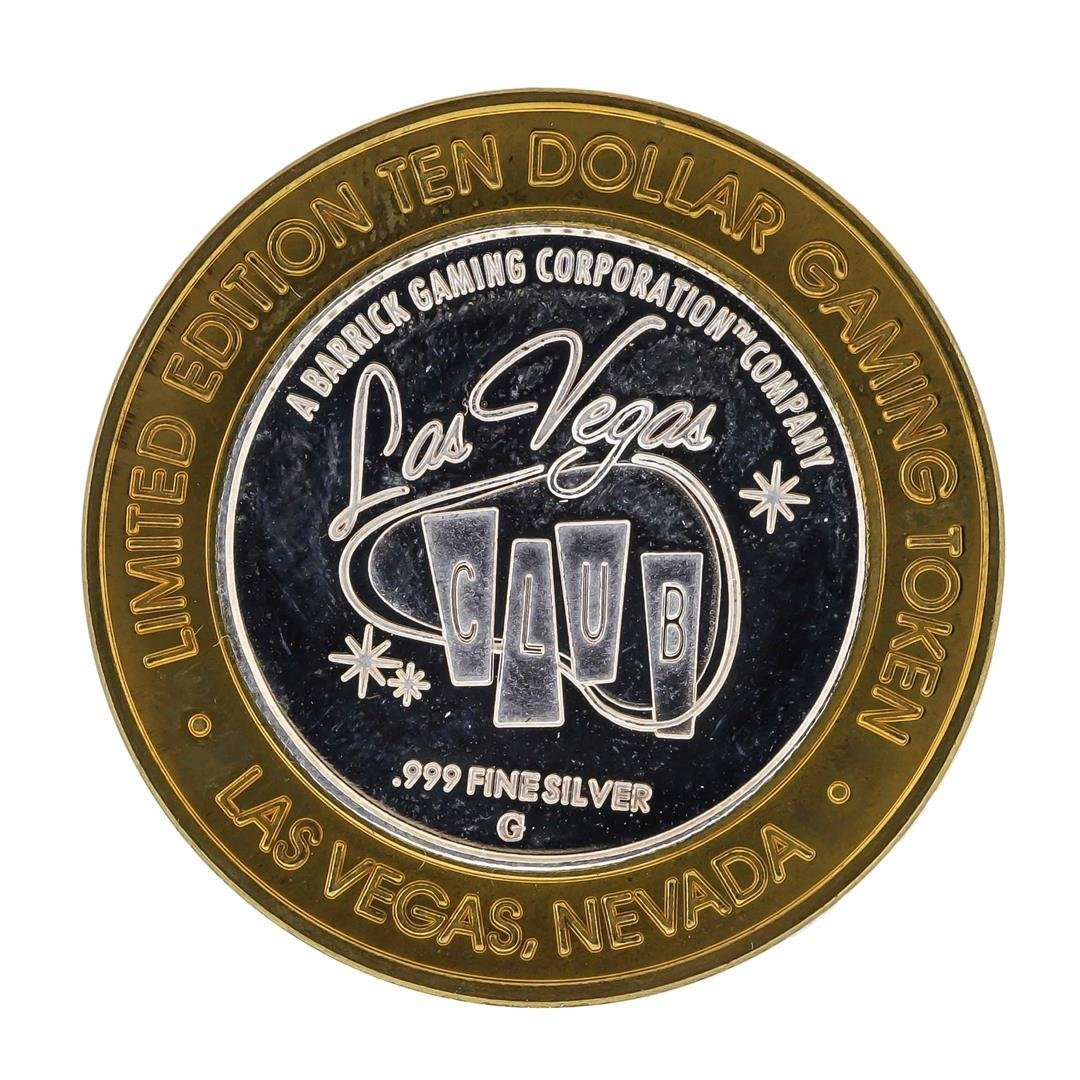 .999 Silver Las Vegas Club $10 Casino Gaming Token - 2