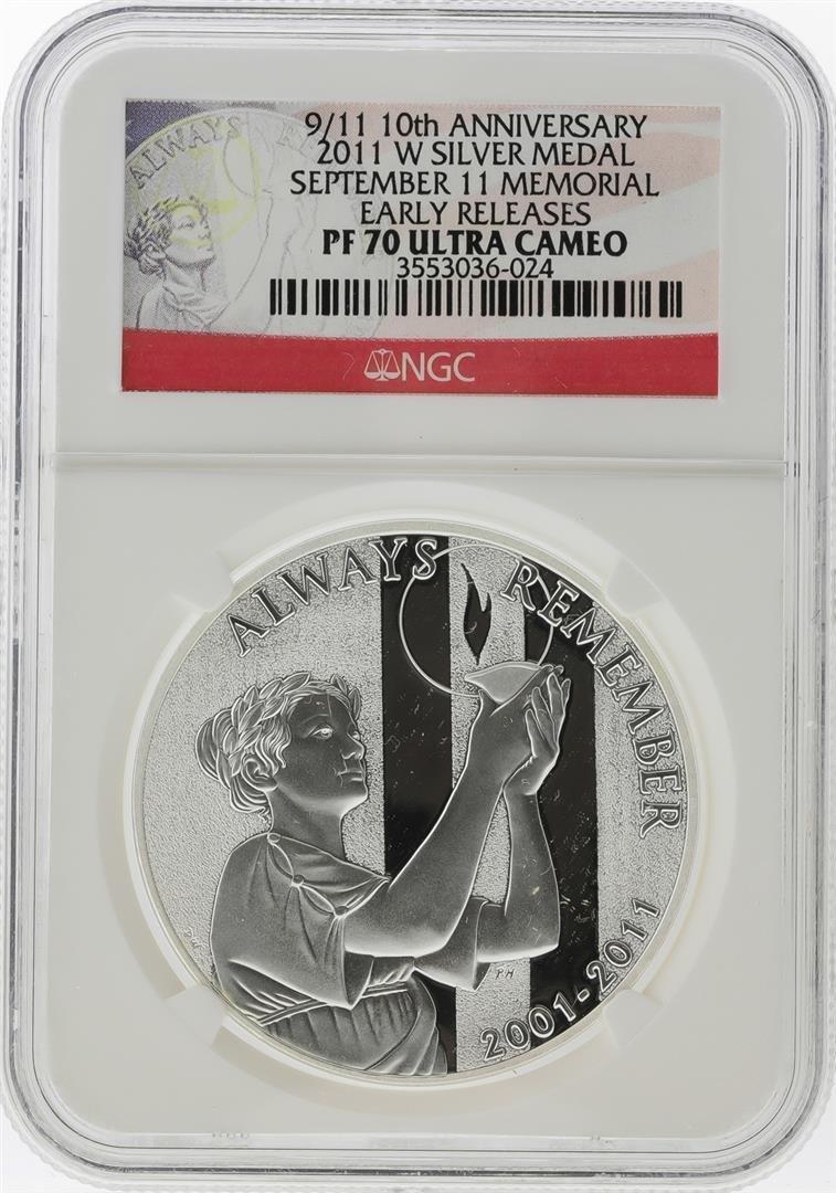 2011-W 9/11 10th Anniversary Silver Medal NGC PF70