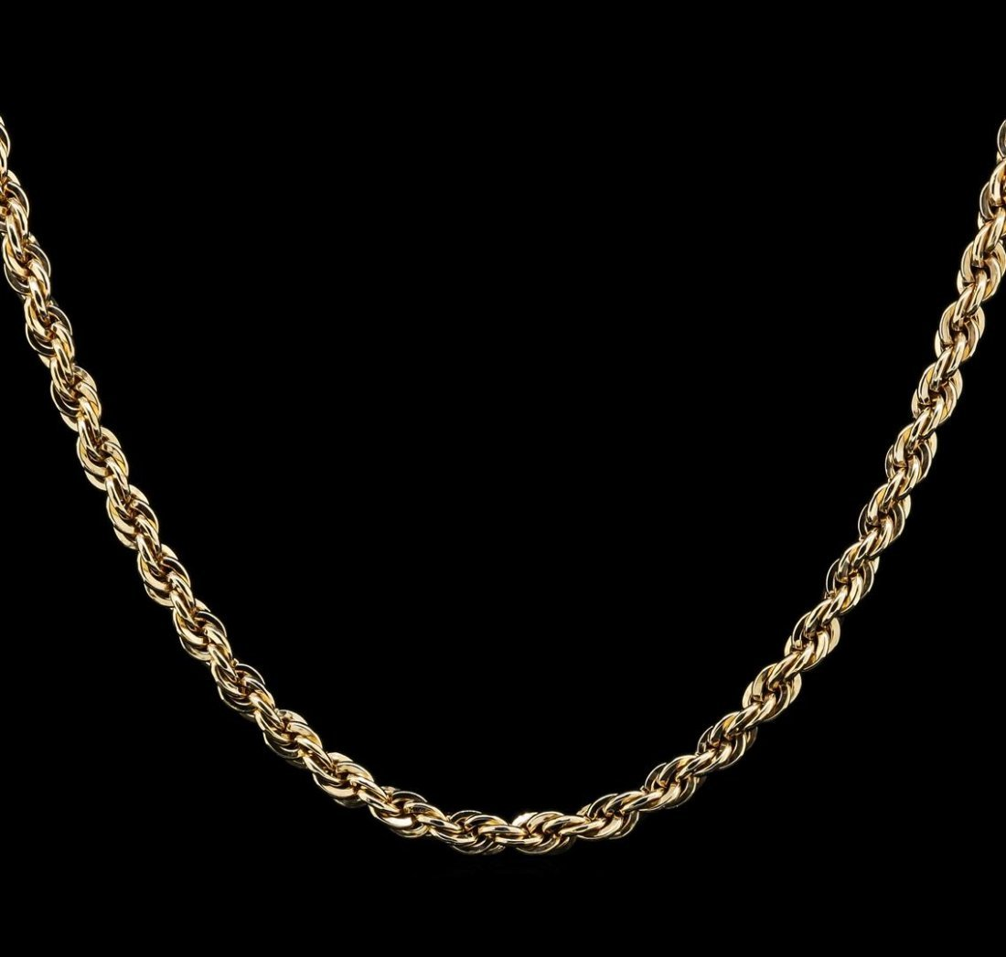 14KT Yellow Gold Rope Chain Necklace - 2