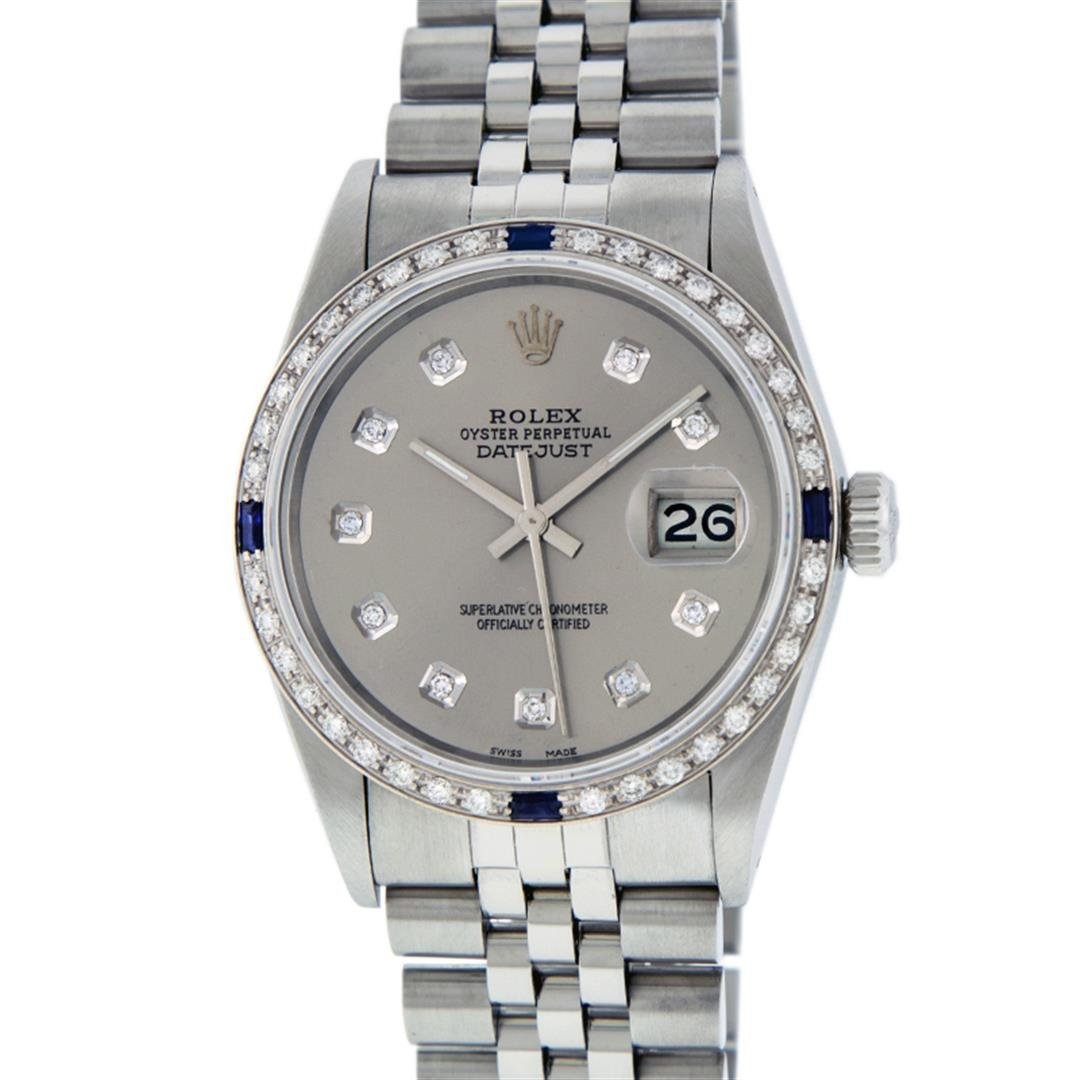 Rolex Mens Stainless Steel Sapphire and Diamond